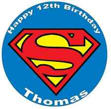 """Superman Logo Personalised Cake Topper Edible Wafer Paper 7.5"""""""