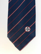 UBS SG tie Singapore Bank vintage 1970s 1980s Navy red white Corporate Uniform