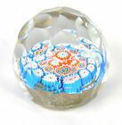 Vintage Murano Millefiori Large Faceted Art Glass Paperweight Gold Flecks Italy