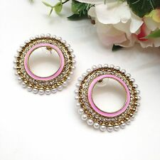 "Indian Bridal Costume Jewellery Party Ethnic Wear Earrings Width:1.6"" Inches"