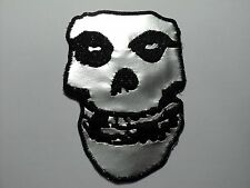 MISFITS SKULL SILVER    EMBROIDERED PATCH IRON OR SEW