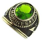 Green Peridot US Marines Military Gold EP Mens Ring