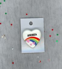 Rainbow & Hearts Fashion Pin Brooch Personalized ANDREA - Stocking Stuffer