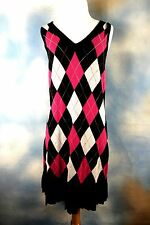 NEW TOMMY HILFIGER Argyle v neck pleated school girl pullover sweater dress S