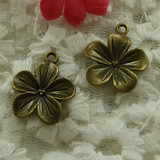 free ship 105 pieces bronze plated flower charms 23x19mm #2915