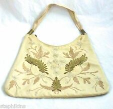 CHLOE Authentic Blush Satchel Shoulder Bag Gold Beading Floral Embroidering
