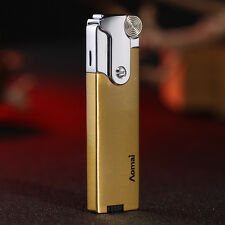 Gold Cigar Butane Gas Refillable Jet Flame Flint Cigarette Lighter