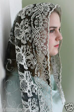 Lovely Elegant Embroidered Lace Black Lace Chapel Veil Mantilla  Latin Mass
