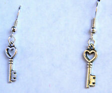 Silver Heart Key Earrings  NEW by Slave Violet Jewelry Free Shipping