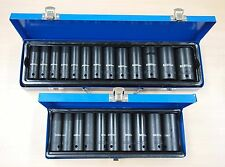 "1/2"" Dr Deep Impact Socket Set SAE Metric Thin Wall 23 Sockets 25 Pc"