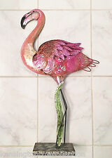 SCULPTURES - PINK FLAMINGO SCULPTURE - METAL & CAPIZ SHELL - FIGURINE