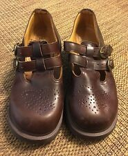 Dr Doc Martens Double T Strap UK 5 Punched Wing Tip Mary Jane Brown England