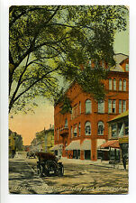 New Bedford MA Mass Pleasant Street view, old car, person, bicycle, early