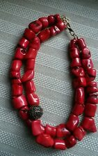 Studio Barse Genuine Bamboo Red Coral 2-Strand Beaded Necklace HSN