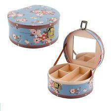 Katie Blue Round Wooden With Mirror Shabby Chic Jewellery Trinket Storage Box