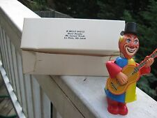 Vintage Wind up Tin Metal Clown guitar playing.Original box.