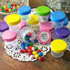 30 Plastic Jars 7/8oz Containers FUN Caps Party Favors candy nuts DecoJars 4304
