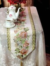 Floral Tapestry Table Runner Roses on Ivory Cotton Backing with Tassels 71""