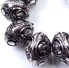 10 Antique Silver Metal Plated Acrylic Rondelle Craft Beads 16x12mm