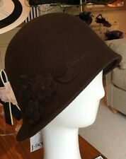 J Bees Wool Felt Cloche Hat, Chocolate Brown BNWT Free Post