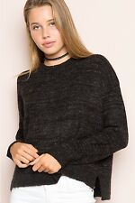 brandy melville super soft speckled Dark gray high low pullover Jinni sweater OS