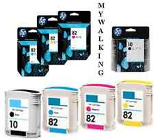 4 NEW HP CARTRIDGES 2017 DATED HP 82 CYAN MAGENTA YELLOW HP 10 BLACK FASTPOSTAGE
