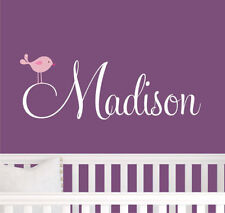 Wall Stickers custom baby name bird vinyl decal decor Nursery kid removable