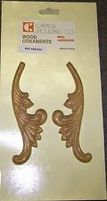 "FEATHERED LEAVES A PAIR OF WOOD APPLIQUE IN  REAL OAK.  6"" X 2"" X 3/16"""