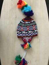 PERUVIAN CHULLO HAT WITH BEADS MULTICOLOURED RAVE FESTIVAL  HAND MADE ^3
