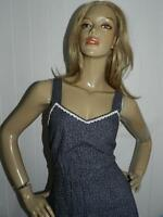 VINTAGE 70s BOHO HIPPY NAVY/WHITE DITSY PRINT CROCHET TRIM DAY DRESS 8-10 S