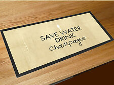 Save water drink champagne quote bar runner home bar counter mat