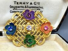 Lovely Vintage Czech Enamel & Crystal Flower Filigree Brooch
