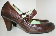 MIZ MOOZ AUGUST MARY JANE PUMP HEELS SHOES BROWN LEATHER PERFORATED 8 BUCKLED