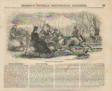 Stockholm, Sweden, Horse Drawn Sleigh, Winter, Vintage 1852 Antique, Print,