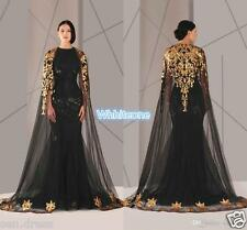 Black Arabic Muslim Evening Dresses Tulle Cloak Plus Size Mermaid Formal Gowns
