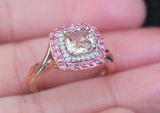 New 14K Sz7 Natural Pink Morganite, Tourmaline & Diamond Halo Ring Rose Gold