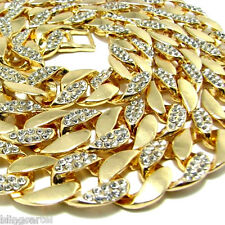 "Iced-Out Cuban Link Chain Gold Finish 15 mm Miami Curb 30"" Inch Hip Hop Necklace"