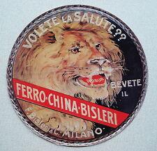 TARGA PUBBLICITARIA IN LATTA FERRO-CHINA BISLERI ROBUR LEONE RUGGENTE VINTAGE