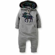 Kids Baby Boy Warm Infant Romper Jumpsuit Bodysuit Hooded Clothes Outfit 12-18M