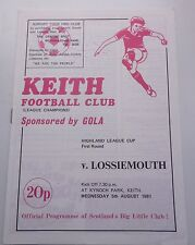 KEITH FC v LOSSIEMOUTH  HIGHLAND LEAGUE CUP 1981KYNOCH PARK