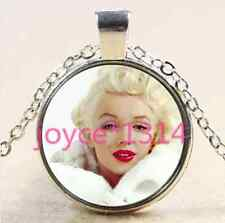 Marilyn Monroe Cabochon Tibetan silver Glass Chain Pendant Necklace #2244