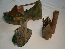 C-6 Faller  very nice 1 Watermill 2 Castels Ruin Building   for HO Modeltrain