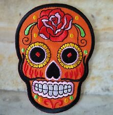 Ecusson patch tête de mort Mexicaine tribale hippie bohème - orange