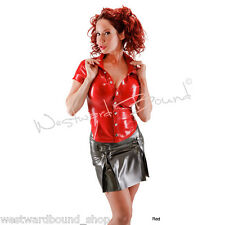 R636 Rubber Latex Blouse shirt size 12 PEARLSHEEN RED Westward Bound