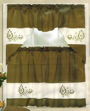 3Pc Embroidered Coffee Pot + Cup Kitchen/cafe Curtain Tier and Swag Set