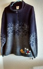 Disney Store Mickey Outdoors Navy Blue Gray Sweater Mickey Mouse Pluto Dog  SZ M