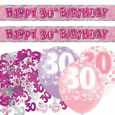 Pink Silver Sparkle 30th Birthday Banner Party Decoration Pack Kit Set
