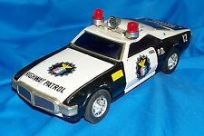 Old Japanese Battery Powered Toy Police Car Litho Pressed Stamped Metal Litho
