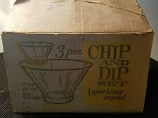 Vintage Anchor Hocking 3 Piece Chip and Dip Set Sparking Crystal in the Box!