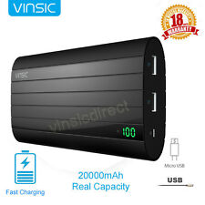 Vinsic 20000mAh External Power Bank Pack Portable Battery Charger for Cell Phone